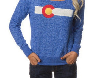 Ladies Colorado Flag Sweater Women's Colorado Sweater Colorado State Flag Sweatshirt Colorado Flag Outerwear Off the Shoulder Gift for her