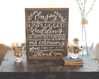 Custom chalkboard Unplugged wedding sign