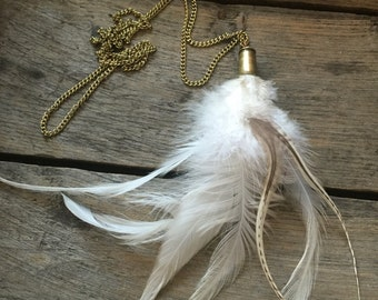 White Rooster Feather Necklace