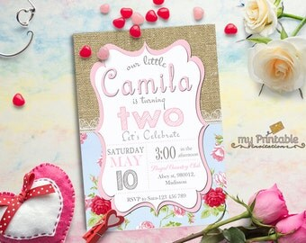 Burlap Birthday Invitation / Digital Printable Shabby Chic Invite / DIY Party