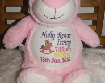 Cubbyford Pink Bear-Personalised Embroidered cubbies for Birthdays, New Born Babies, Christmas etc..