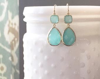 DAISY | Aqua Bridesmaid Earrings | Aqua Teardrop Earrings | Aqua Dangle Earrings | Aqua + Gold Teardrop Earrings | Aqua Statement Earrings