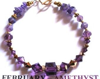 Birthstone Bracelet for February in Amethyst