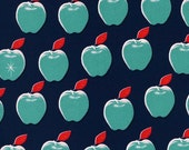 Clearance! 40% Off FQ Apples Navy PICNIC Quilting Cotton Fabric Melody Miller