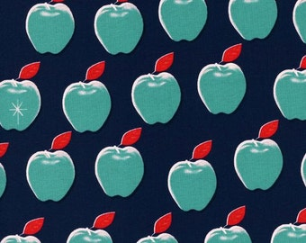 Clearance! 40% Off BTHY Apples Navy PICNIC Quilting Cotton Fabric Melody Miller