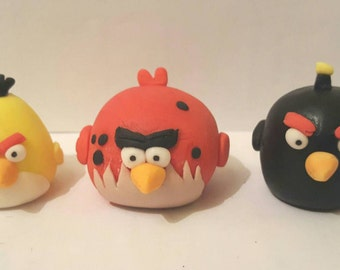 Items similar to angry birds cake topper without bunker on for Angry birds cake decoration kit