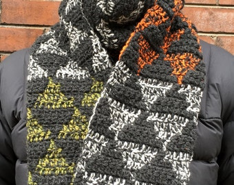 Mens Scarf CROCHET PATTERN, Mens Crochet Scarf Pattern, Crochet Scarves for Men, Mens Winter Scarf, Warm Crochet Winter Scarf for Man