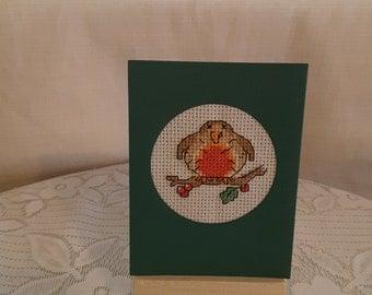 Christmas Robin Small Cross Stitch Card