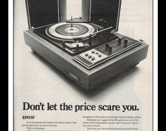 "Vintage Print Ad October 1969 : Sylvania Electronics Turntable Advertisement Wall Art Decor B&W 8.5"" x 11"""