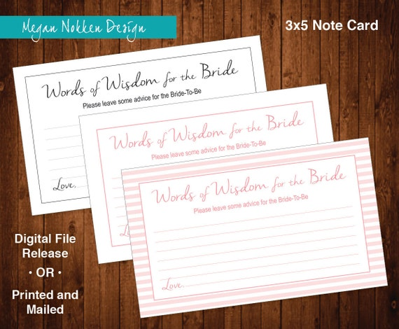 Words of Wisdom for the Bride Advice Cards Bridal Shower