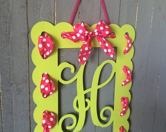 FREE SHIPPING Monogrammed Rectangle Door Hanger with Ribbon Holes