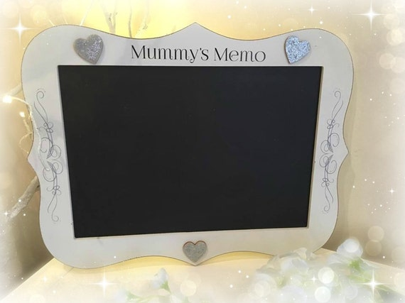 Memo Blackboard sign Large. Mummy's Memo/ Can be personalised with a name/great for Kitchen or work office for keeping track of daily tasks