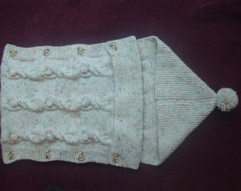 Hand Knitted Baby Sleep Bag, Cocoon, Blanket, Cream Aran with Flecks of Colour