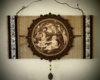 Botticelli's Magnificat Virgin Mary Rustic Wall Art Antique Print Catholic Decor