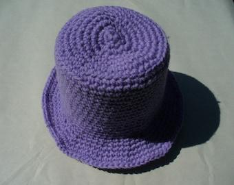 Purple 15in Acrylic/Nylon Hand-crocheted Baby Hat