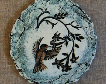 Collectible Shapes of Clay Hummingbird Wall Hanging Crafted from Mount St. Helen's Ash by Stan