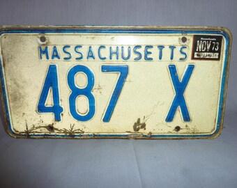 Vintage 1970's Massachusetts license Plate