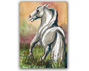 Fall Autumn Art by Linda  L Martin  ACEO Gray Horse Original Watercolor Artwork LLMartin