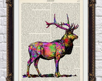 """Antique vintage dictionary art print """"Stag"""" 10 x 8inches printed directly onto original 1920'2 dictionary pages - splatter design"""