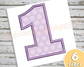 Number 1 Applique - 6 Sizes - Machine Embroidery Design File
