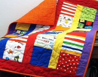 "Dr Seuss I Spy Baby Quilt with Bright Orange Backing (27.5""x36"") Professionally Quilted"