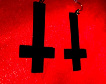 black inverted cross satanic ritual occult magick drop earrings