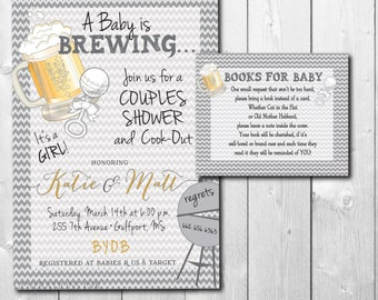 Baby is Brewing Invitation with Book Request, Couples Baby Shower cookout, beer and grilling/Wording can be changed