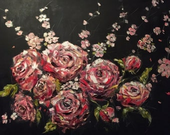 Cherry Blossoms and Roses