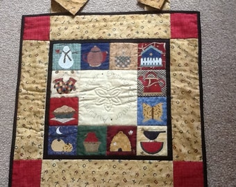 Four seasons 12 months quilted applique small wallhanging