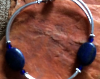 Lapis and Silver Magnetic Bracelet