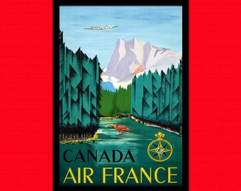 Canada Travel Print - Canadian Travel Poster Canada Poster Travel Canadian Prints Travel Wall Decor Air France Poster Birthday Gift Idea