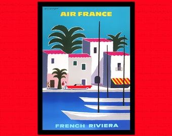 South Of France Travel Poster - French Riviera Print France Poster Travel Travel Decor French Print Air France  t