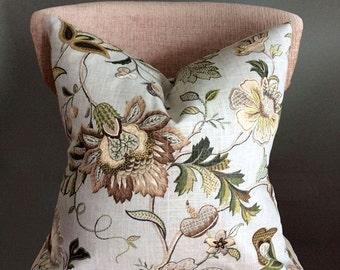 Floral throw pillows, Green Beige pillow covers, Decorative Pillow cover, Pillow cases, pillow covers, pillow