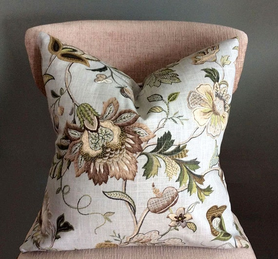 Beige Decorative Throw Pillows : Floral throw pillows Green Beige pillow covers Decorative
