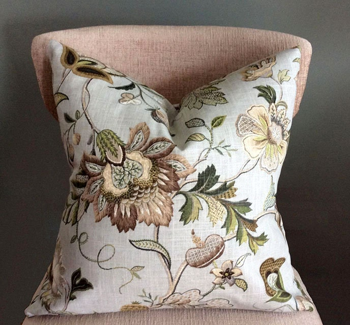 Floral throw pillows Green Beige pillow covers Decorative