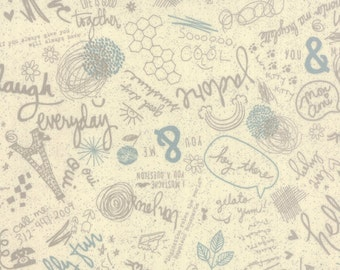 French Word Fabric - Mon Ami by Basic Grey for Moda - Bonjour in Creme - Fabric By the Half Yard