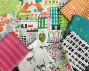 City Themed Fabric Bundle - Curated Fat Quarter Bundle Featuring Pretty City by Alexander Henry - 9 Fat Quarters