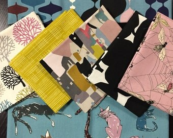 Last Fabric Bundle - Cats with Attitude - Fabric Bundle featuring The Ghastlies by Alexander Henry - 7 Fat Quarters