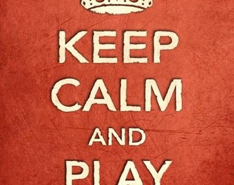 CR13 Vintage Style Shabby Chic Red Keep Calm And Play Guitar Funny Music Hobby Poster Print Wall Decor A2/A3/A4