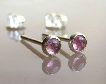 Natural Pink Tourmaline Earrings / Natural Pink Tourmaline Stud Earrings - Light Pink Stud Earrings / Tourmaline Post Earrings