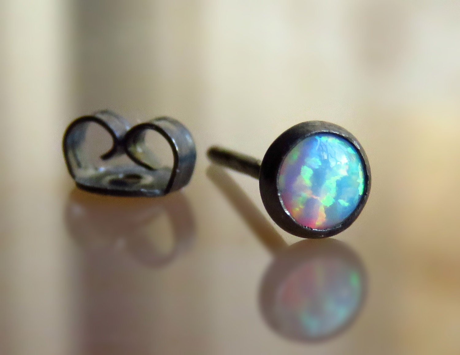 opal cartilage earrings white opal tragus stud earring cartilage jewelry helix 7412