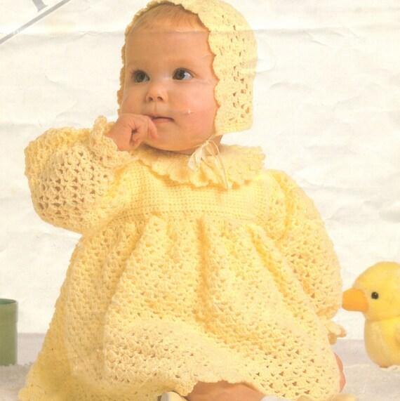 Crochet Baby Dress And Bonnet Pattern : Crochet Baby Dress and Bonnet Vintage Crochet Pattern baby