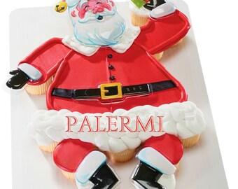Santa Claus Cupcake Cake Topper kit, Santa Pull apart Cupcake topper kit, Christmas Cake Topper kit, Santa Cupcake Topper