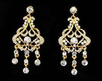 Rhinestone Chandelier Earrings | Statement Wedding Chandelier Earrings | Art Nouveau Bridal Earrings | 1920's Hollywood Glamour Chandeliers