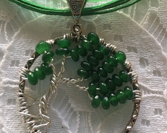 """1 1/2"""" round silver wire wrapped tree of life wind swept with genuine green jade faceted beads"""