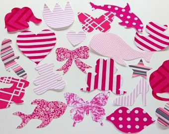 10 Iron On Appliques Girl Set Hot Pink, Light Pink, Magenta Baby Shower Activity