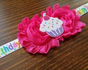 Happy Birthday Cupcake Headband