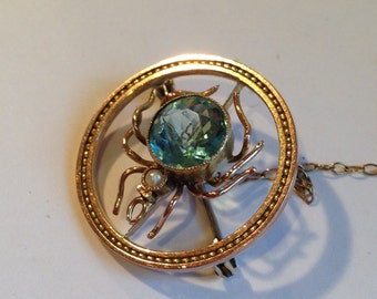 Edwardian Gold Spider brooch