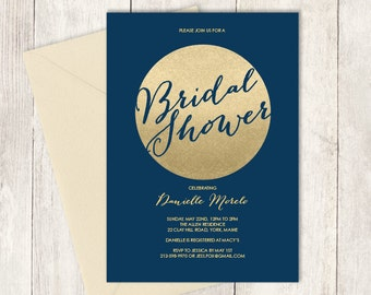 Gold Sparkle Bridal Shower Invitation / Metallic Gold and Navy / Champagne Gold   ▷ Printed Heavy Paper {or} Printable