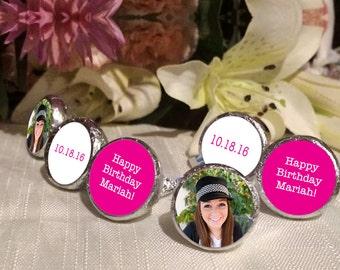 108 Photo Hershey Kiss® Stickers - Hershey Kiss Stickers Wedding - Personalized Hershey Kiss Labels - Birthday Hershey Kiss Seals - Hot Pink